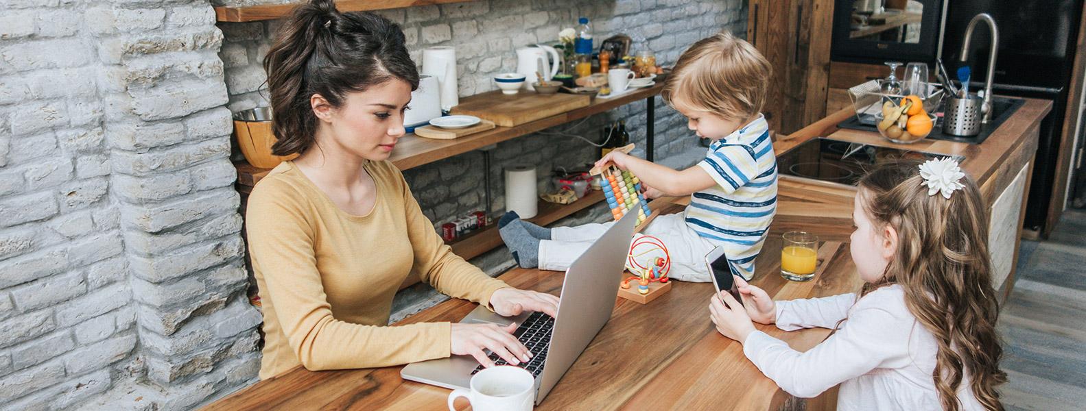 working multitasking mum